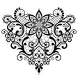 heart lace black and white design vector image vector image