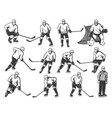 ice hockey players sport team and referee on rink vector image vector image