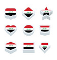 iraq flags icons and button set nine styles vector image