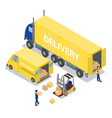 Isometric Warehouse Cargo Industry Worker vector image