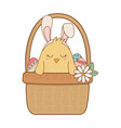little chick with ears rabbit in floral basket vector image vector image