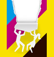 man and woman ripped paper background with cmyk c vector image vector image