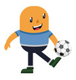 man pimping football on white background vector image