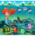 Mermaid with funny animals on the sea floor vector image vector image