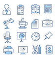 office line icons on white background vector image vector image
