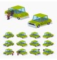 Old green sedan vector image vector image