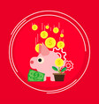 pig symbol profit management business design coin vector image