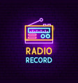 radio record neon sign vector image