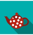 Red spotty teapot icon flat style vector image vector image