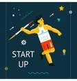 Retro Flat Design Space Launch Start Up Rocket vector image vector image