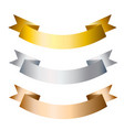 ribbons banners golden silver and bronze flat vector image vector image