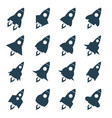 rocket icon set space craft silhouette black vector image