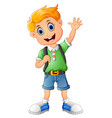 school boy waving hand vector image vector image
