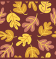 seamless pattern of fall oak leaves vector image vector image
