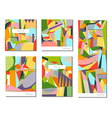 set abstract geometric cards vector image