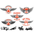 set of airplane show labels emblems with wings vector image vector image