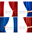 Set of backgrounds with curtain and hand vector | Price: 3 Credits (USD $3)