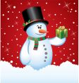 snowman with a gift vector image