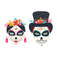 sugar skulls woman and man dia de los muertos vector image vector image