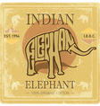 Vintage label with elephant and grunge effect vector image vector image