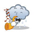 with trumpet rain cloud character cartoon vector image