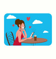 woman sitting at table in cafe happy valentines vector image