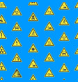 yellow warning hazard signs seamless pattern vector image vector image