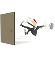 young man flies out from the open door isolated vector image vector image