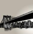 New York Brooklyn Bridge Hand Drawing vector image