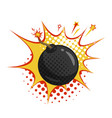bomb with burning fuse comic style vector image