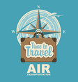 banner with plane travel suitcase and compass vector image vector image