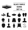boxing set icons in black style big collection of vector image vector image
