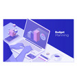 budget planning man working at office desk and vector image