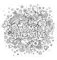 Cartoon hand drawn Doodle Be My Valentine vector image vector image