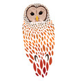 cartoon owl stylized predatory bird colored vector image