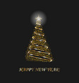 christmas tree 3d for card black background vector image