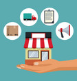 color background with hand holding a store with vector image vector image