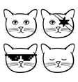 Cute icons with cats animal Children linear vector image vector image