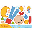 education paper game for children girl in overalls vector image vector image