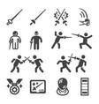 fencing icon set vector image vector image