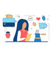 food cooking woman character with mobile phone vector image