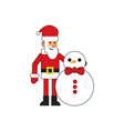 fun santa claus with snowman vector image vector image