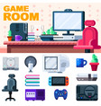 game room set up gamer workplace with set of vector image vector image