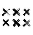 hand drawn set cross brush strokesx black vector image
