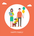 happy family poster mother father sons and pet vector image vector image
