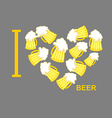 I love beer Symbol heart of steins of beer vector image vector image