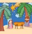 joseph and mary wih palms trees and star vector image vector image