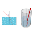 Light refraction at the transition from one medium vector image vector image