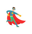 male superhero in comics costume have fun vector image vector image