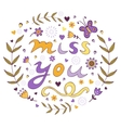 Miss you card vector image